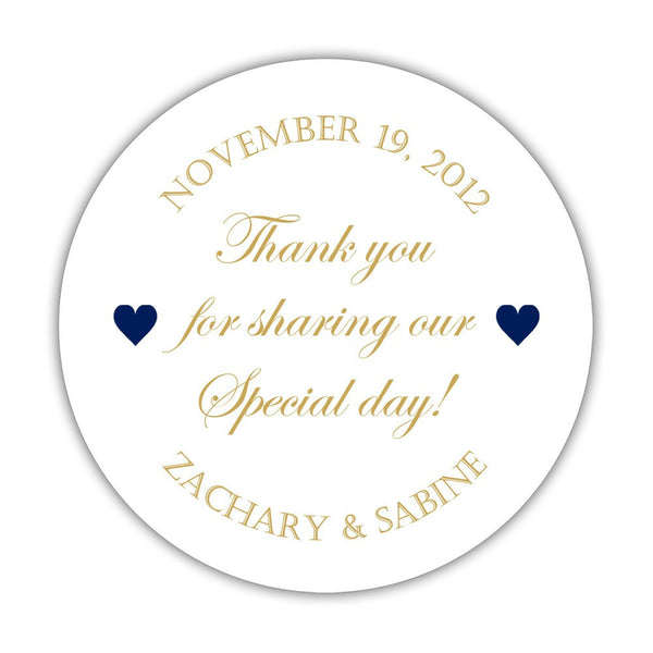 "Thank you for sharing our special day stickers - 1.5"" circle = 30 labels per sheet / Gold/Navy - Dazzling Daisies"