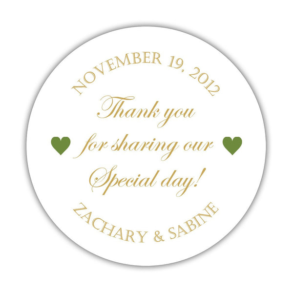 "Thank you for sharing our special day stickers - 1.5"" circle = 30 labels per sheet / Gold/Olive - Dazzling Daisies"