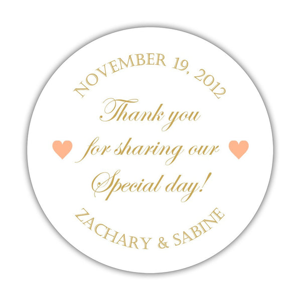 "Thank you for sharing our special day stickers - 1.5"" circle = 30 labels per sheet / Gold/Peach - Dazzling Daisies"