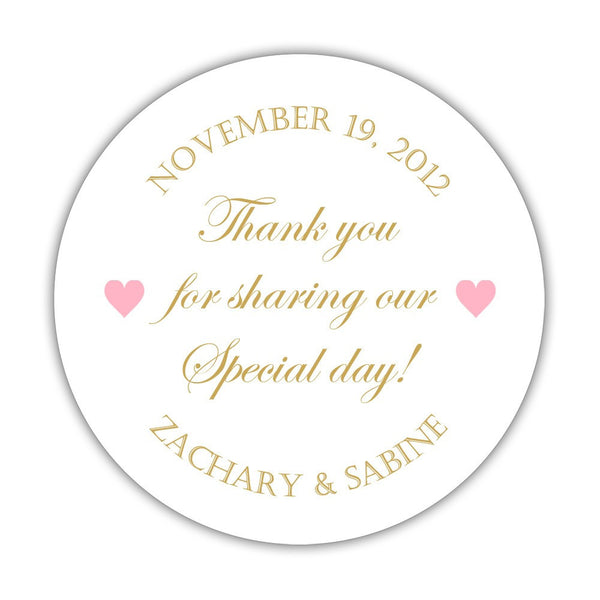 "Thank you for sharing our special day stickers - 1.5"" circle = 30 labels per sheet / Gold/Pink - Dazzling Daisies"