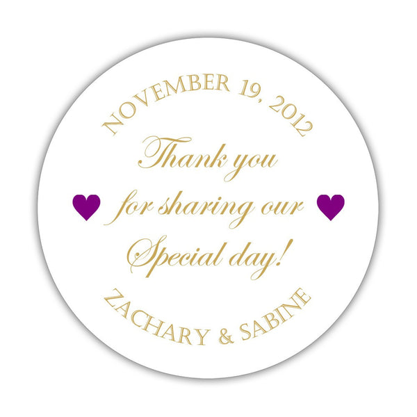 "Thank you for sharing our special day stickers - 1.5"" circle = 30 labels per sheet / Gold/Purple - Dazzling Daisies"