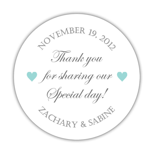 "Thank you for sharing our special day stickers - 1.5"" circle = 30 labels per sheet / Gray/Aquamarine - Dazzling Daisies"