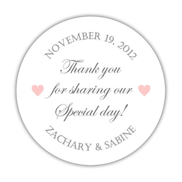 "Thank you for sharing our special day stickers - 1.5"" circle = 30 labels per sheet / Gray/Blush - Dazzling Daisies"