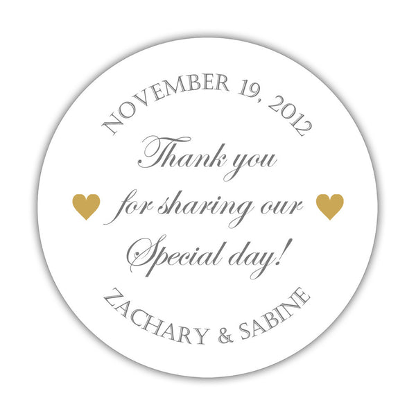 "Thank you for sharing our special day stickers - 1.5"" circle = 30 labels per sheet / Gray/Gold - Dazzling Daisies"