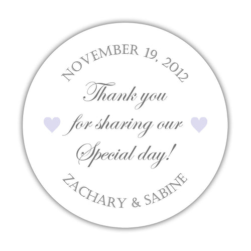 "Thank you for sharing our special day stickers - 1.5"" circle = 30 labels per sheet / Gray/Lavender - Dazzling Daisies"