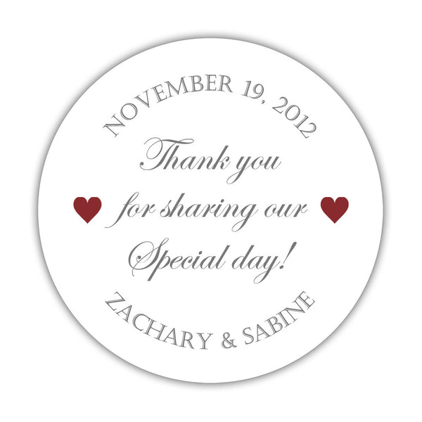 "Thank you for sharing our special day stickers - 1.5"" circle = 30 labels per sheet / Gray/Maroon - Dazzling Daisies"
