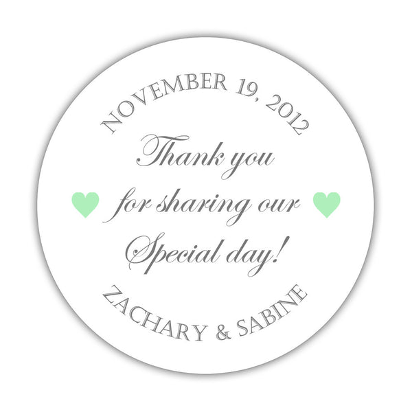 "Thank you for sharing our special day stickers - 1.5"" circle = 30 labels per sheet / Gray/Mint - Dazzling Daisies"