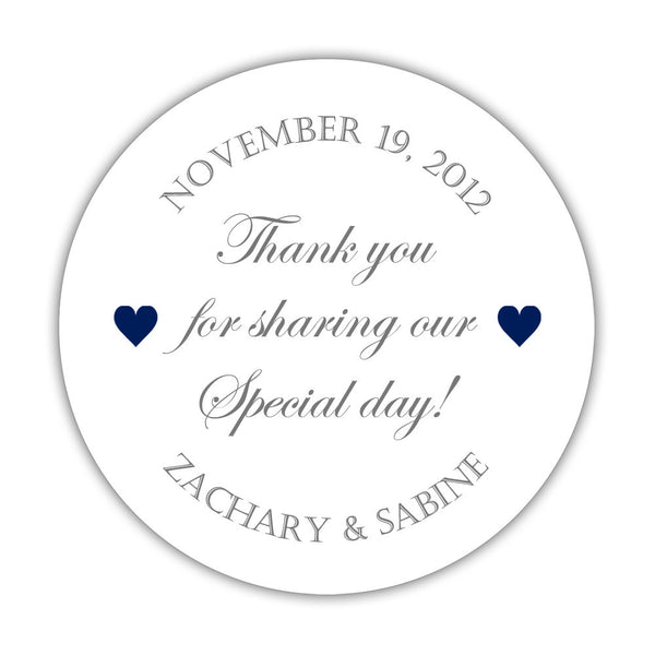 "Thank you for sharing our special day stickers - 1.5"" circle = 30 labels per sheet / Gray/Navy - Dazzling Daisies"
