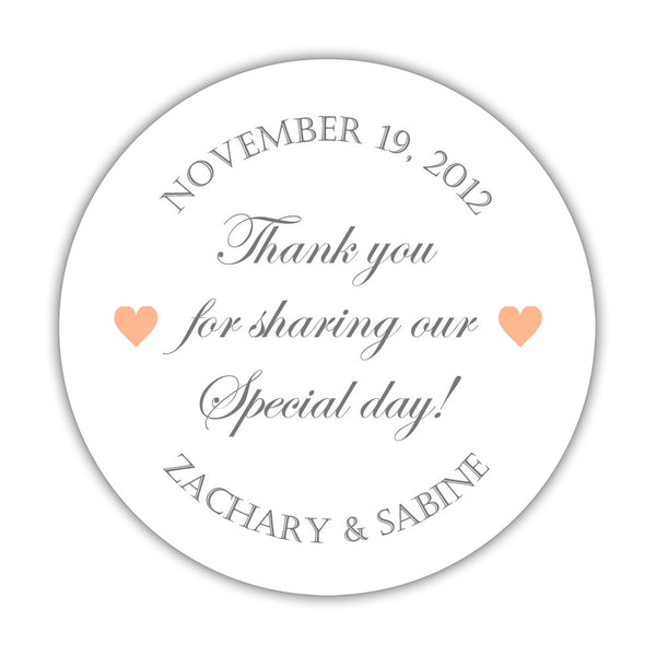 "Thank you for sharing our special day stickers - 1.5"" circle = 30 labels per sheet / Gray/Peach - Dazzling Daisies"