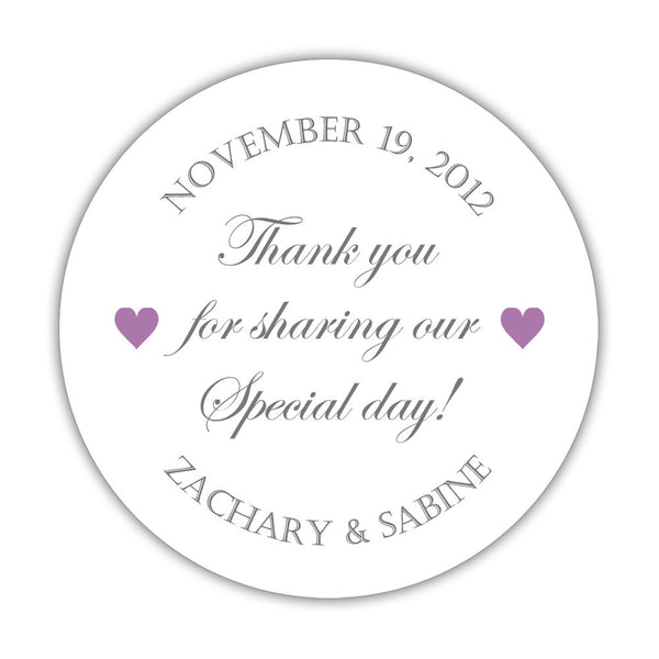 "Thank you for sharing our special day stickers - 1.5"" circle = 30 labels per sheet / Gray/Plum - Dazzling Daisies"