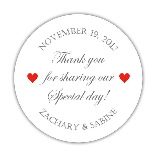 "Thank you for sharing our special day stickers - 1.5"" circle = 30 labels per sheet / Gray/Red - Dazzling Daisies"