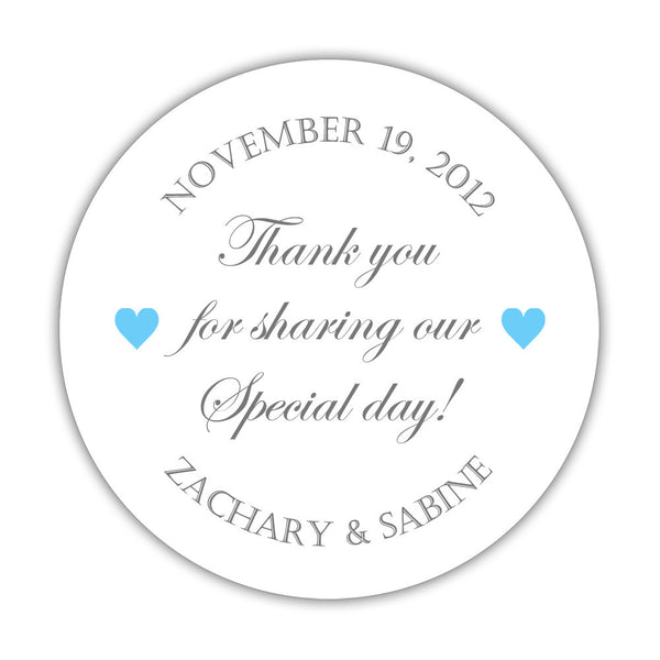 "Thank you for sharing our special day stickers - 1.5"" circle = 30 labels per sheet / Gray/Sky blue - Dazzling Daisies"
