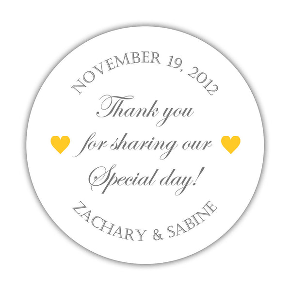 "Thank you for sharing our special day stickers - 1.5"" circle = 30 labels per sheet / Gray/Yellow - Dazzling Daisies"