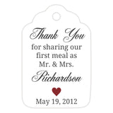 Thank you for sharing our first meal tags - Maroon - Dazzling Daisies