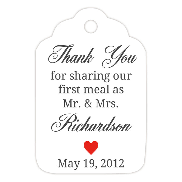 Thank you for sharing our first meal tags - Red - Dazzling Daisies