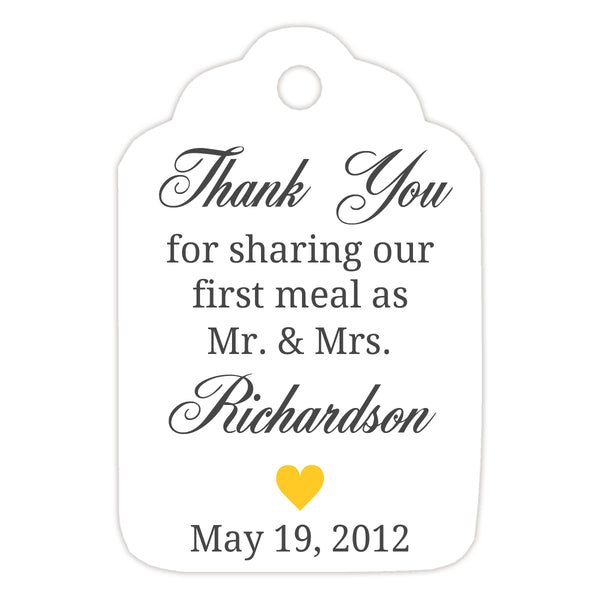 Thank you for sharing our first meal tags - Yellow - Dazzling Daisies