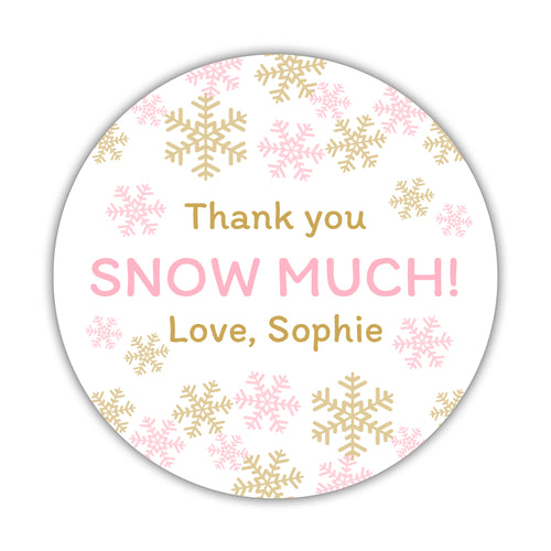 "Thank you snow much stickers - 1.5"" circle = 30 labels per sheet / Gold/Pink - Dazzling Daisies"