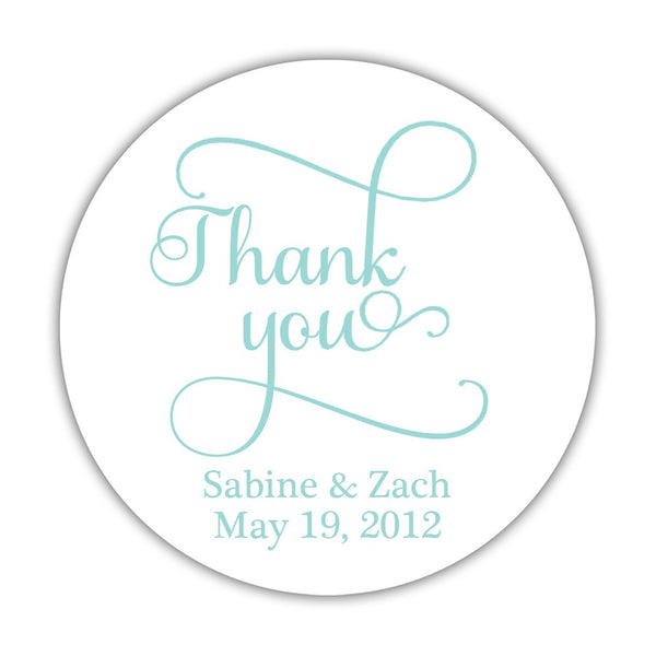 "Thank you stickers 'Swash Supreme' - 1.5"" circle = 30 labels per sheet / Aquamarine - Dazzling Daisies"