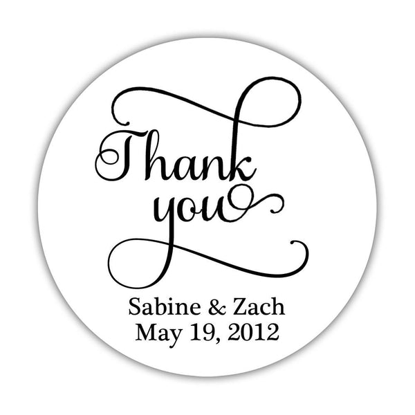 "Thank you stickers 'Swash Supreme' - 1.5"" circle = 30 labels per sheet / Black - Dazzling Daisies"