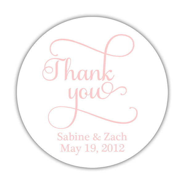 "Thank you stickers 'Swash Supreme' - 1.5"" circle = 30 labels per sheet / Blush - Dazzling Daisies"