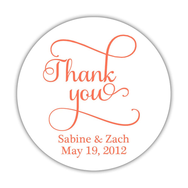"Thank you stickers 'Swash Supreme' - 1.5"" circle = 30 labels per sheet / Coral - Dazzling Daisies"