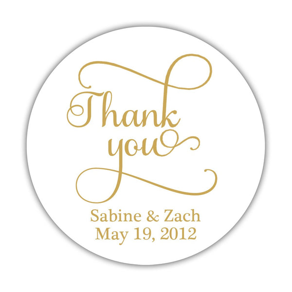 "Thank you stickers 'Swash Supreme' - 1.5"" circle = 30 labels per sheet / Gold - Dazzling Daisies"