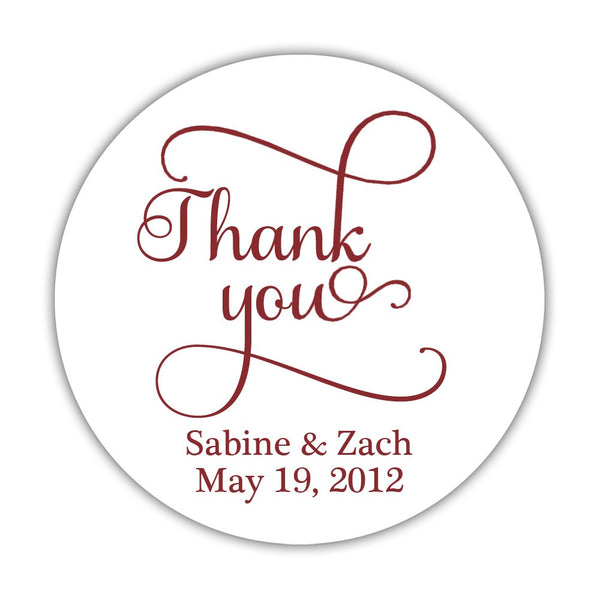 "Thank you stickers 'Swash Supreme' - 1.5"" circle = 30 labels per sheet / Maroon - Dazzling Daisies"