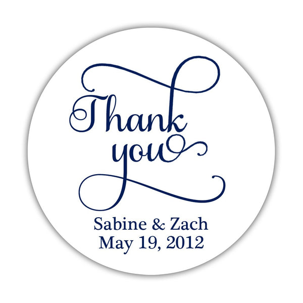"Thank you stickers 'Swash Supreme' - 1.5"" circle = 30 labels per sheet / Navy - Dazzling Daisies"