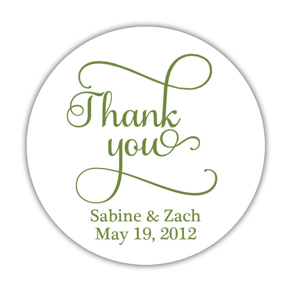 "Thank you stickers 'Swash Supreme' - 1.5"" circle = 30 labels per sheet / Olive - Dazzling Daisies"