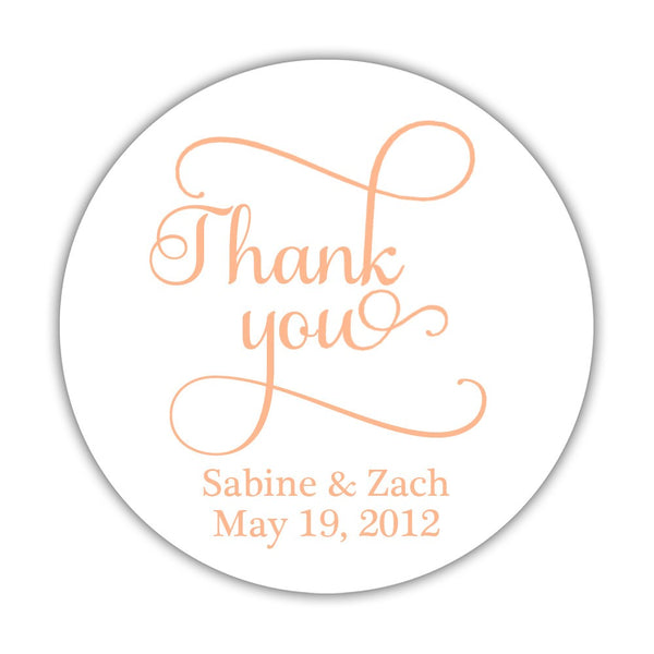 "Thank you stickers 'Swash Supreme' - 1.5"" circle = 30 labels per sheet / Peach - Dazzling Daisies"