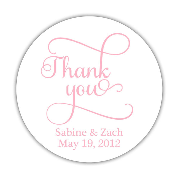 "Thank you stickers 'Swash Supreme' - 1.5"" circle = 30 labels per sheet / Pink - Dazzling Daisies"