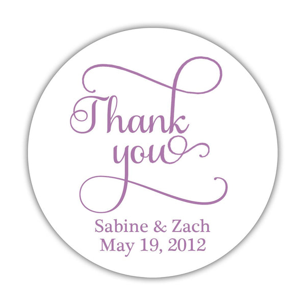 "Thank you stickers 'Swash Supreme' - 1.5"" circle = 30 labels per sheet / Plum - Dazzling Daisies"