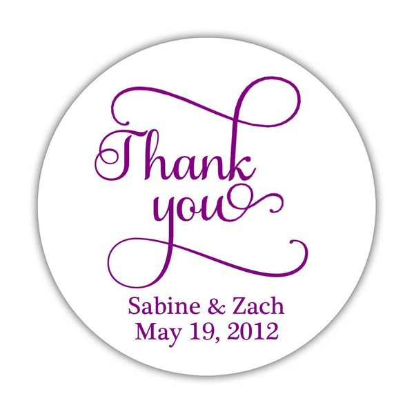 "Thank you stickers 'Swash Supreme' - 1.5"" circle = 30 labels per sheet / Purple - Dazzling Daisies"