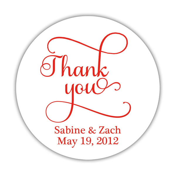 "Thank you stickers 'Swash Supreme' - 1.5"" circle = 30 labels per sheet / Red - Dazzling Daisies"