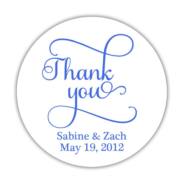 "Thank you stickers 'Swash Supreme' - 1.5"" circle = 30 labels per sheet / Royal blue - Dazzling Daisies"