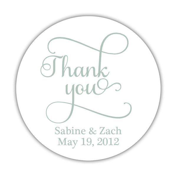 "Thank you stickers 'Swash Supreme' - 1.5"" circle = 30 labels per sheet / Sage - Dazzling Daisies"