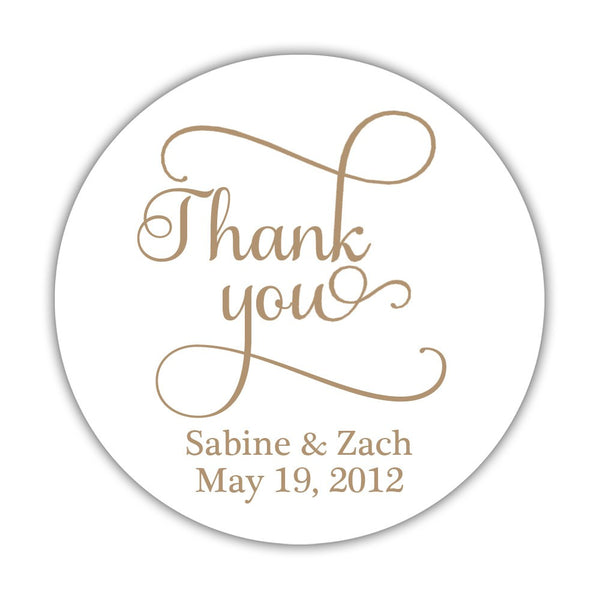 "Thank you stickers 'Swash Supreme' - 1.5"" circle = 30 labels per sheet / Sand - Dazzling Daisies"