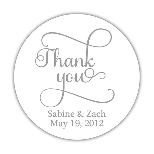 "Thank you stickers 'Swash Supreme' - 1.5"" circle = 30 labels per sheet / Silver - Dazzling Daisies"