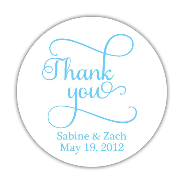 "Thank you stickers 'Swash Supreme' - 1.5"" circle = 30 labels per sheet / Sky blue - Dazzling Daisies"