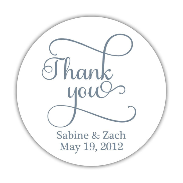 "Thank you stickers 'Swash Supreme' - 1.5"" circle = 30 labels per sheet / Slate - Dazzling Daisies"