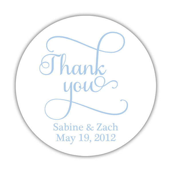 "Thank you stickers 'Swash Supreme' - 1.5"" circle = 30 labels per sheet / Steel blue - Dazzling Daisies"