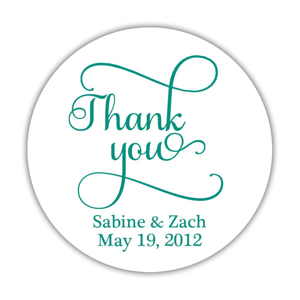 "Thank you stickers 'Swash Supreme' - 1.5"" circle = 30 labels per sheet / Teal - Dazzling Daisies"