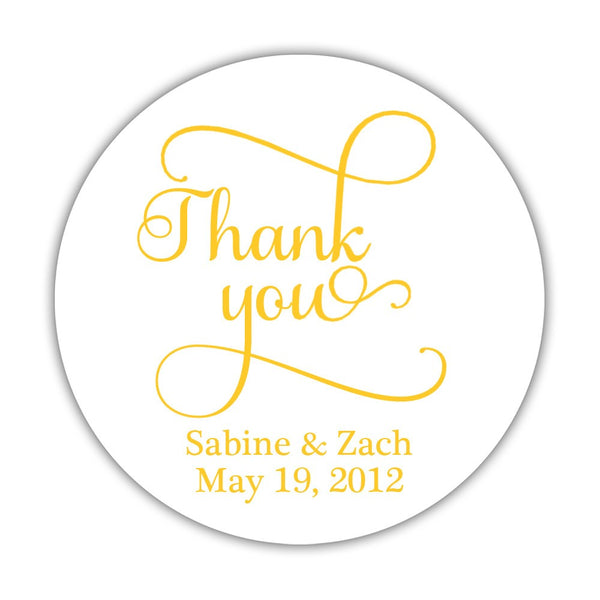 "Thank you stickers 'Swash Supreme' - 1.5"" circle = 30 labels per sheet / Yellow - Dazzling Daisies"