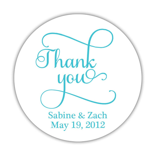 "Thank you stickers 'Swash Supreme' - 1.5"" circle = 30 labels per sheet / Turquoise - Dazzling Daisies"