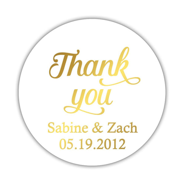 "Foil thank you stickers 'Swirl Away' - 2"" circle = 12 labels per sheet / Gold foil - Dazzling Daisies"