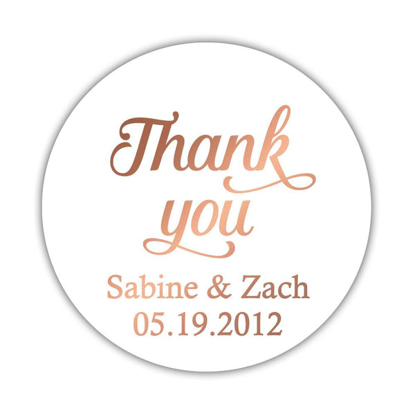 "Foil thank you stickers 'Swirl Away' - 2"" circle = 12 labels per sheet / Rose gold foil - Dazzling Daisies"