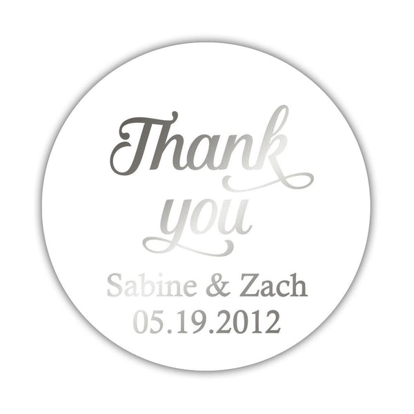 "Foil thank you stickers 'Swirl Away' - 2"" circle = 12 labels per sheet / Silver foil - Dazzling Daisies"