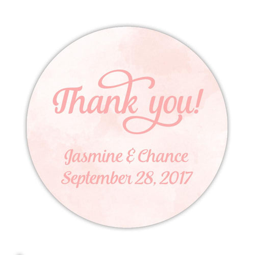 "Watercolor thank you stickers 'Pastel Prettiness' - 1.5"" circle = 30 labels per sheet / Blush - Dazzling Daisies"
