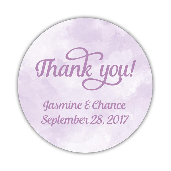 "Watercolor thank you stickers 'Pastel Prettiness' - 1.5"" circle = 30 labels per sheet / Plum - Dazzling Daisies"
