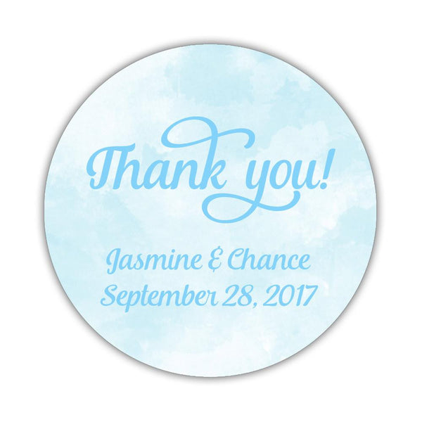 "Watercolor thank you stickers 'Pastel Prettiness' - 1.5"" circle = 30 labels per sheet / Sky blue - Dazzling Daisies"